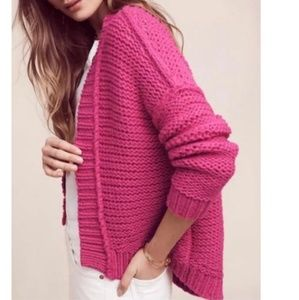 Anthropologie Bright Pink Chunky Cardigan